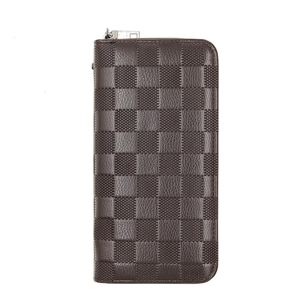 Men Long Zip Wallet Plaid Clutch Multifunctional Large Capacity Wallet Dark brown
