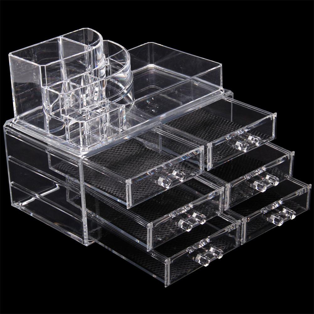 [US Direct] 2pcs/set Transparent Plastic 6-drawer Cosmetic Box Makeup  Case Table Organizer Transparent