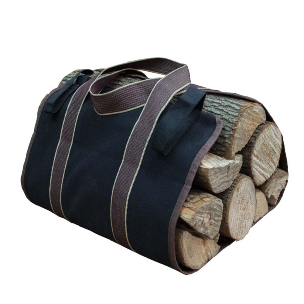 Canvas Firewood Wood Bag Log Camping Outdoor Holder Carry Storage Bag Wooden Canvas Bag black