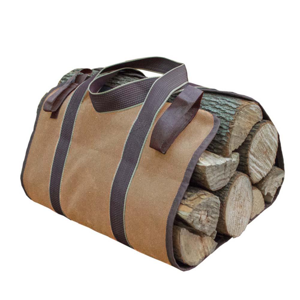 Canvas Firewood Wood Bag Log Camping Outdoor Holder Carry Storage Bag Wooden Canvas Bag Khaki