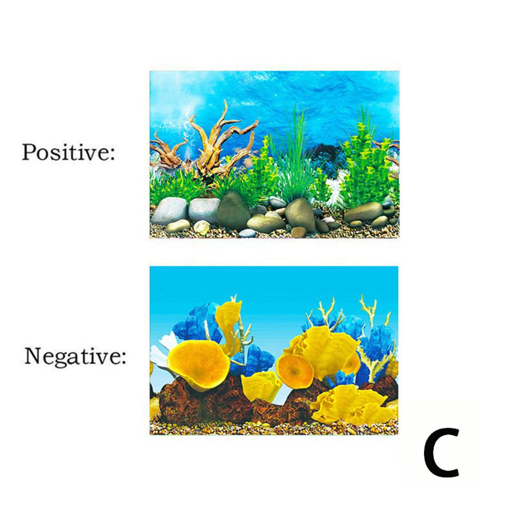Background Paper Painting 3D Fish Bowl Wallpaper Double-sided Aquarium Decorative Sticker C
