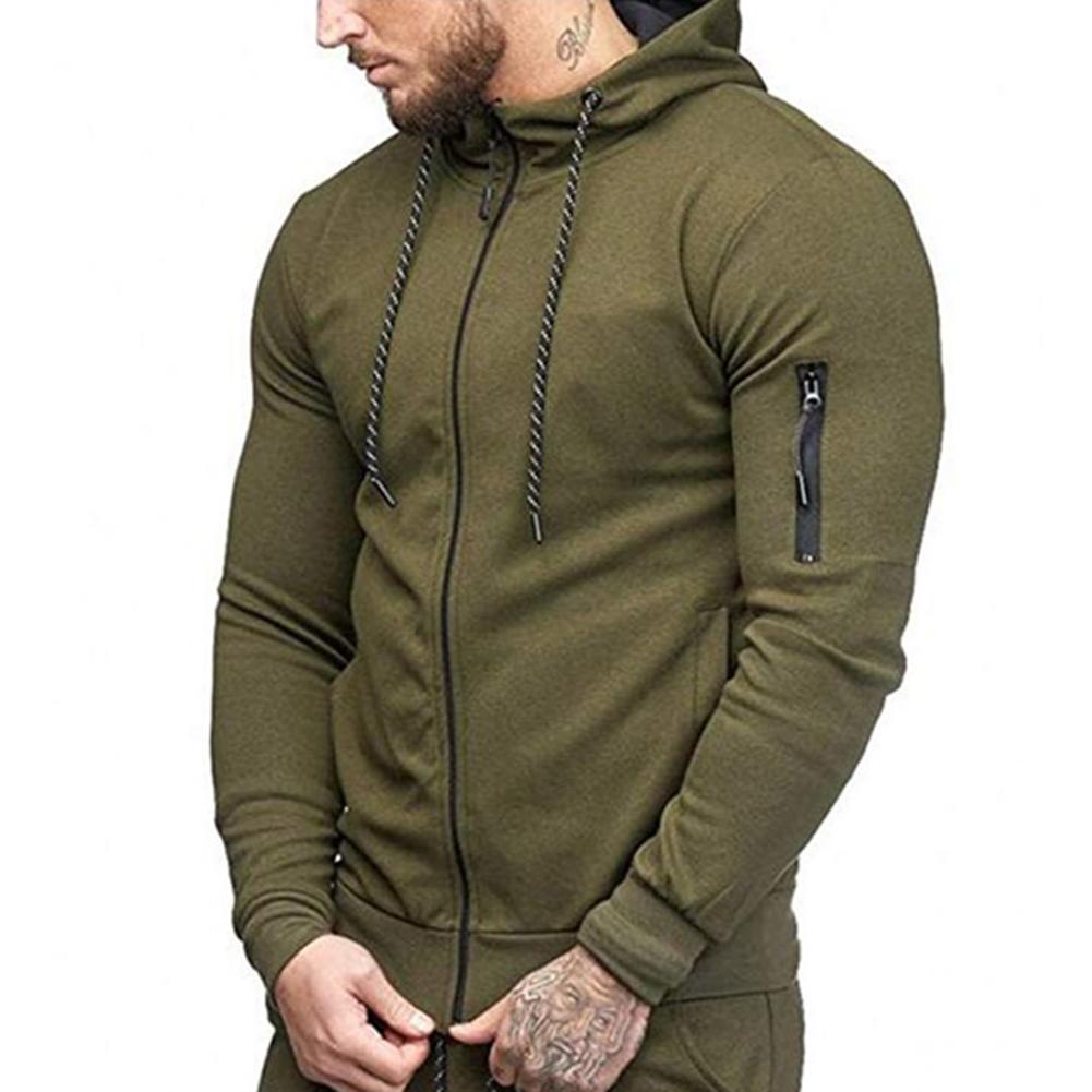 Men Slim Fit Sports Hoodies Zipper Closure Fashion Casual Jacket Sweatshirts ArmyGreen_L