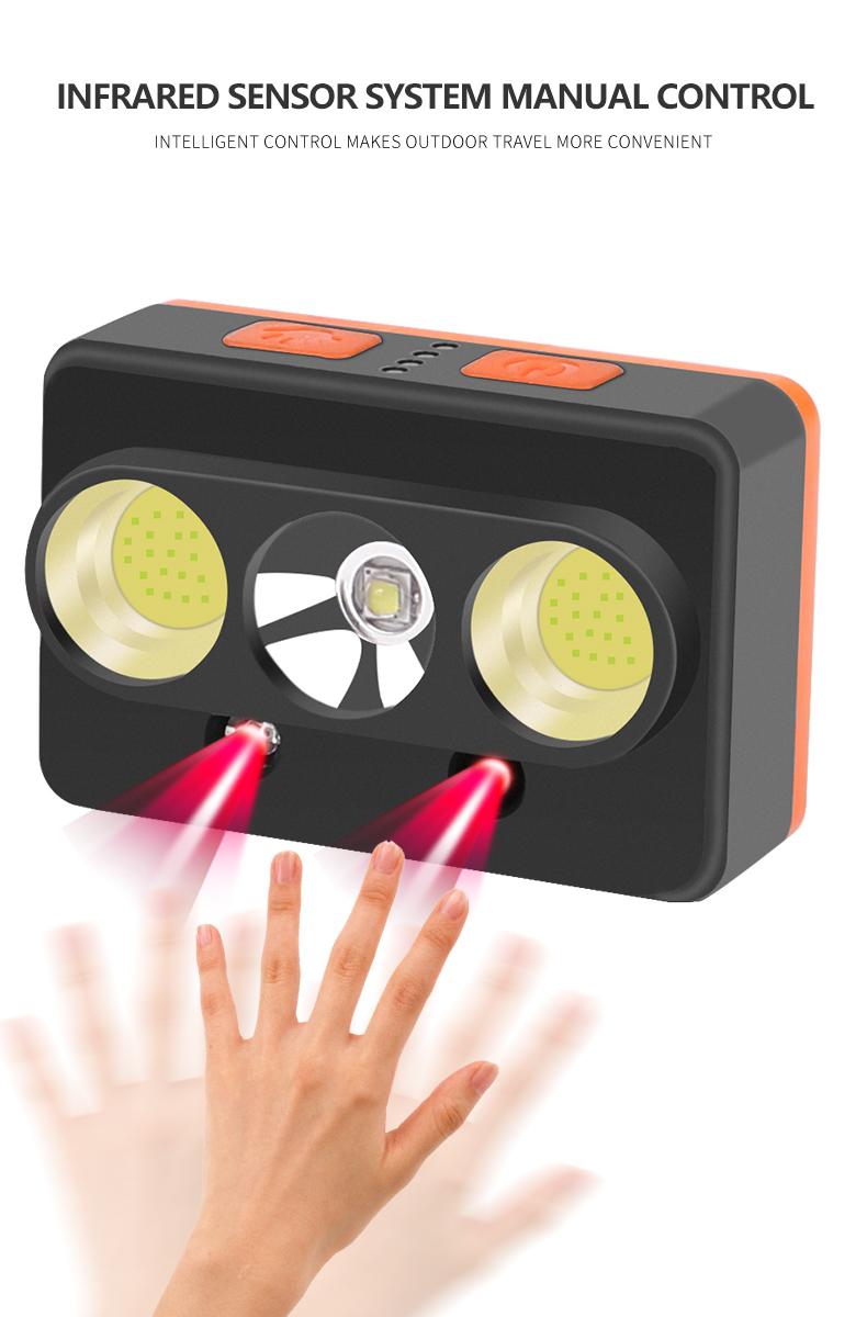 LED XPG+2 COB Induction Camping Headlight Motion Sensor USB Rechargeable Head Lamp Torch gray_Model 2058A