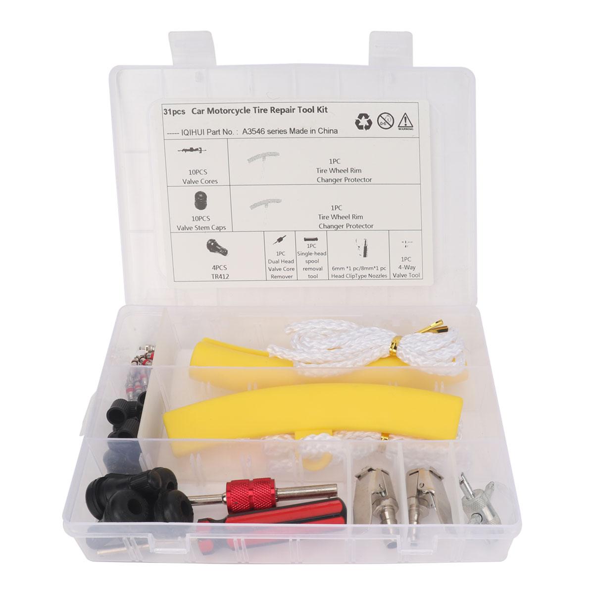 31pcs/set Car Tire Repair Kit Universal Automotive Valve Core High Low Pressure Tool Quick Remover Installer  Boxed