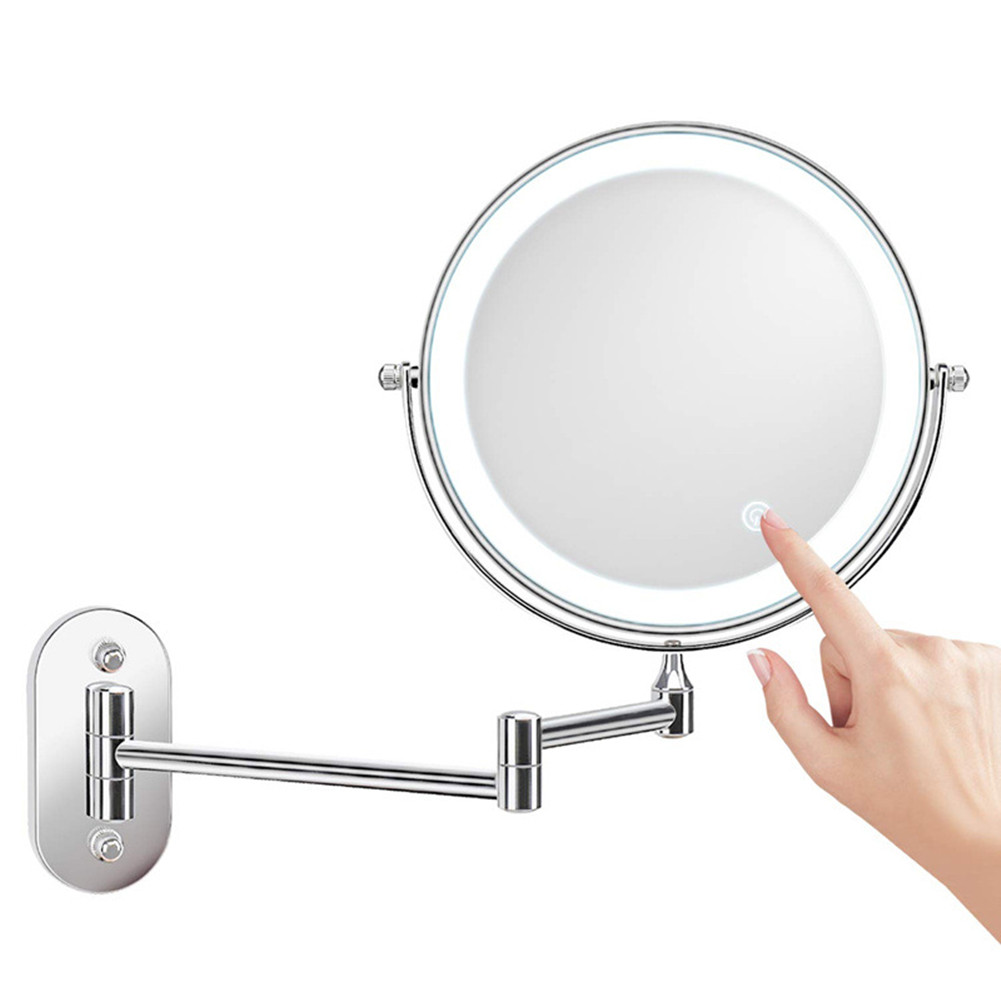 8 Inch Folding  Led Makeup  Mirror Wall-mounted 10x Magnifying Mirror Double-sided With Light Rechargeable