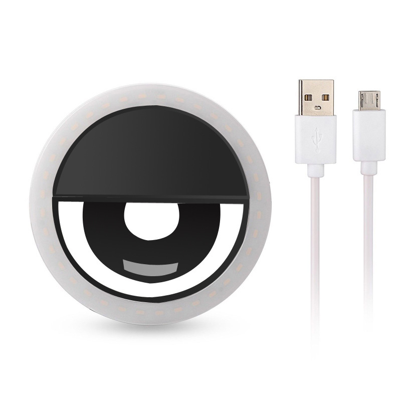 USB Charging LED Self-timer Selfie Ring Light Auxiliary Lighting for Mobile Phone black