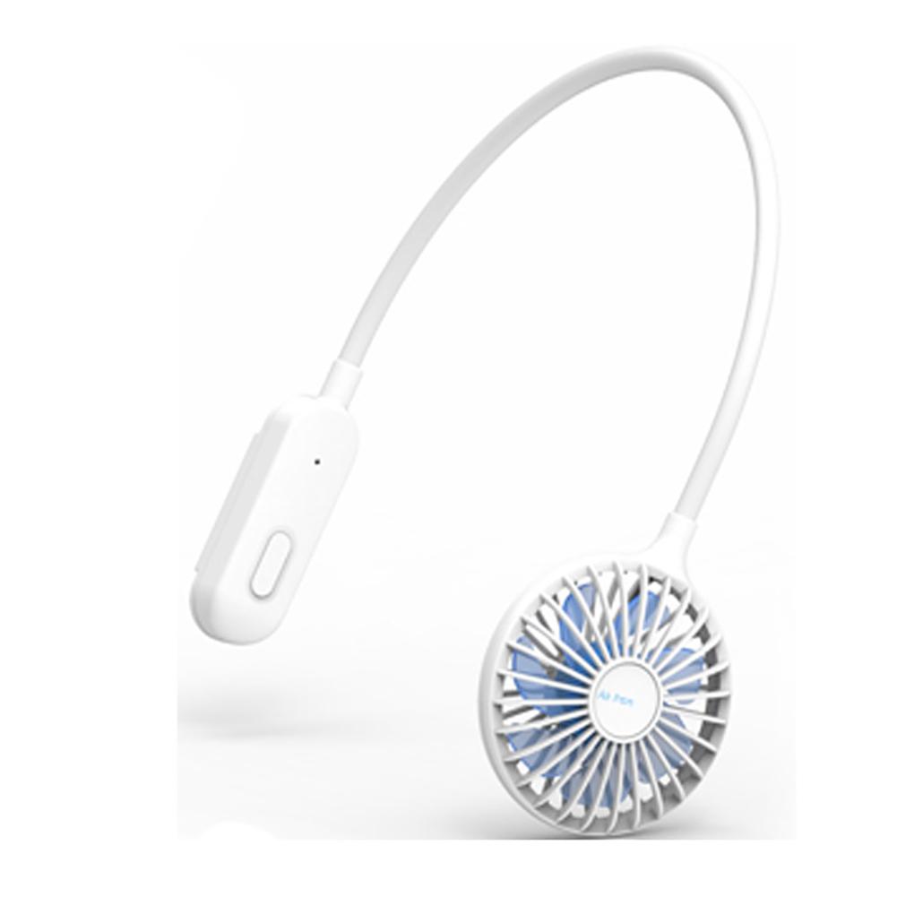 Neckband Fan USB Rechargeable Personal Mini Neck Fan Travel Heatstroke Prevention Gadget white