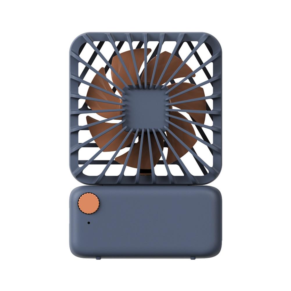 USB Charging Fan Square Small Fan Mini Mute Cute Handheld Portable Hanging Neck Electric Fan Navy