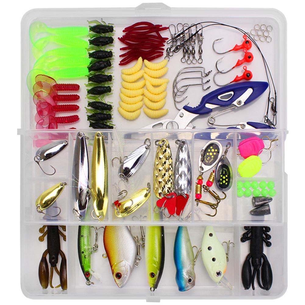 101 Pcs Fishing Lures Kit Full Fishing Tackle Box Including Spinners VIB Treble Hooks Single Hooks Swivels Pliers White box first generation 101 set