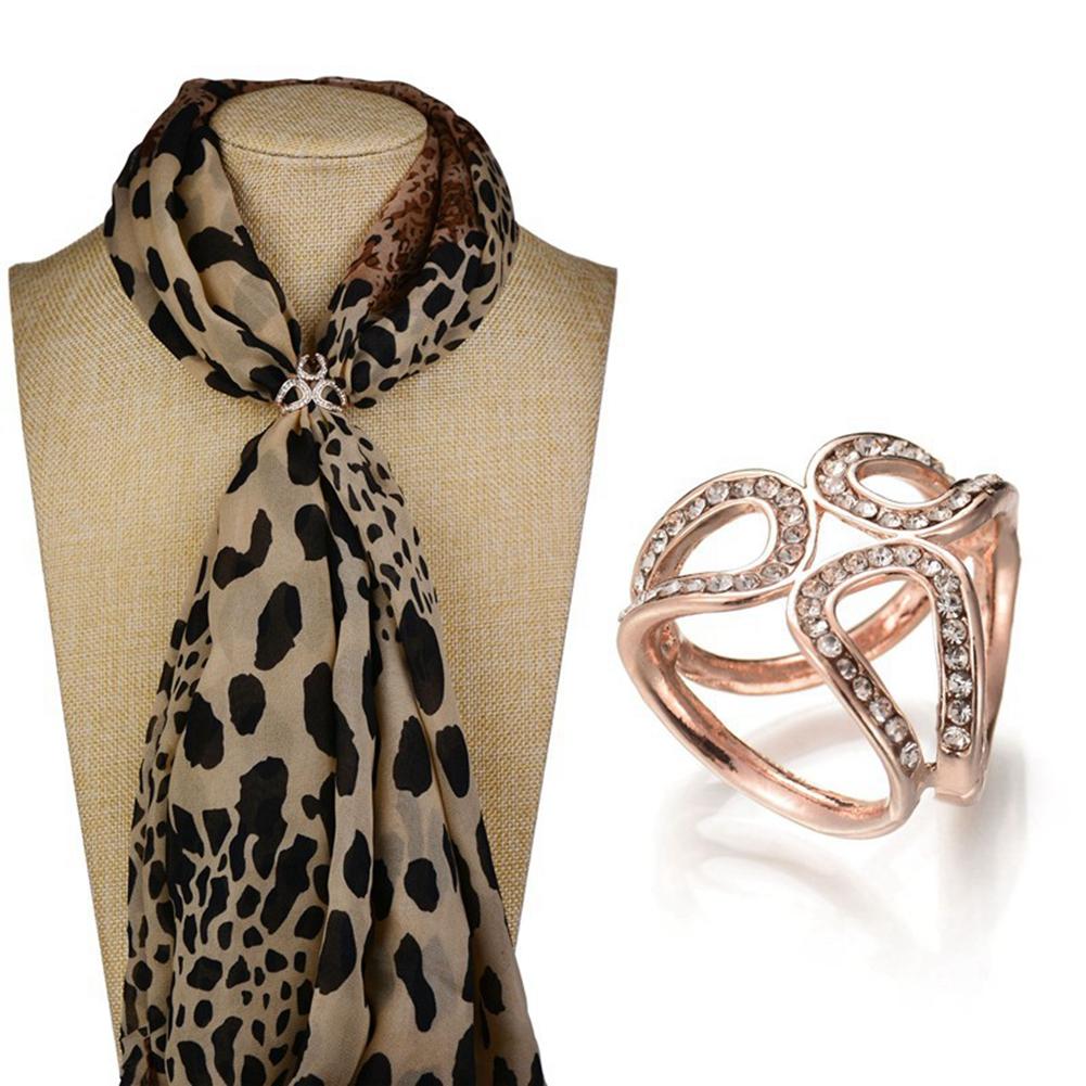 Women Fashion Pearls Diamante Scarf Clip Buckle Three Ring Rhinestone Brooch Pin