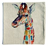 Ivenf Cotton Linen Throw Pillow Cover Case 18`x18`, Colorful Imaginary Animals in Your Dream, Giraffe