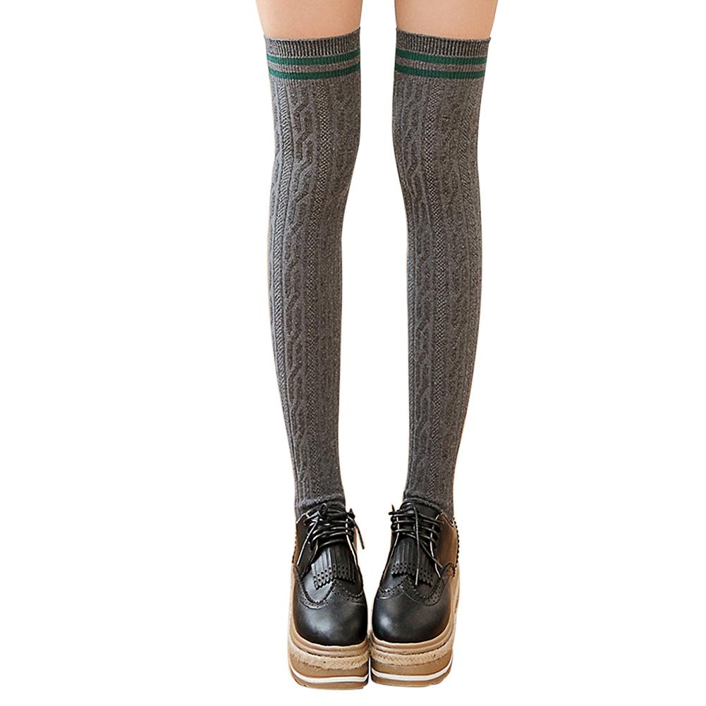 Women Girl Fashion Vertical Stripes Thigh High Stockings Over Knee Socks