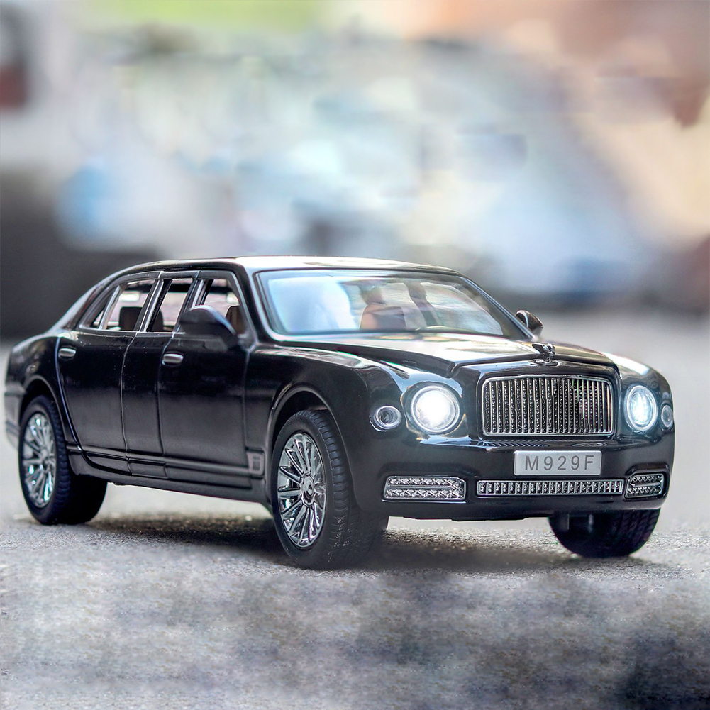 1:24 High Simitation Car for Bentley Mulsanne Extended Edition Alloy Metal Vehicle Model Toys With Sound Light Open Doors black
