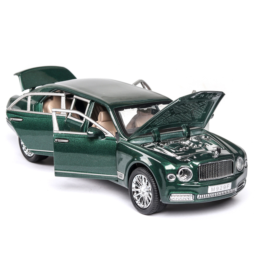 1:24 High Simitation Car for Bentley Mulsanne Extended Edition Alloy Metal Vehicle Model Toys With Sound Light Open Doors green