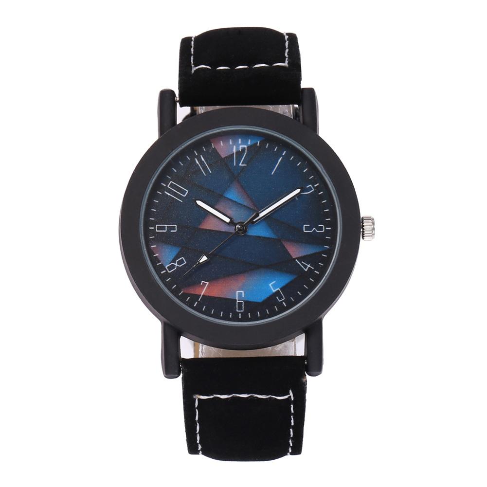 Men Casual Punk Quartz Watch Imitation Leather Fashionable Sports Wristwatch