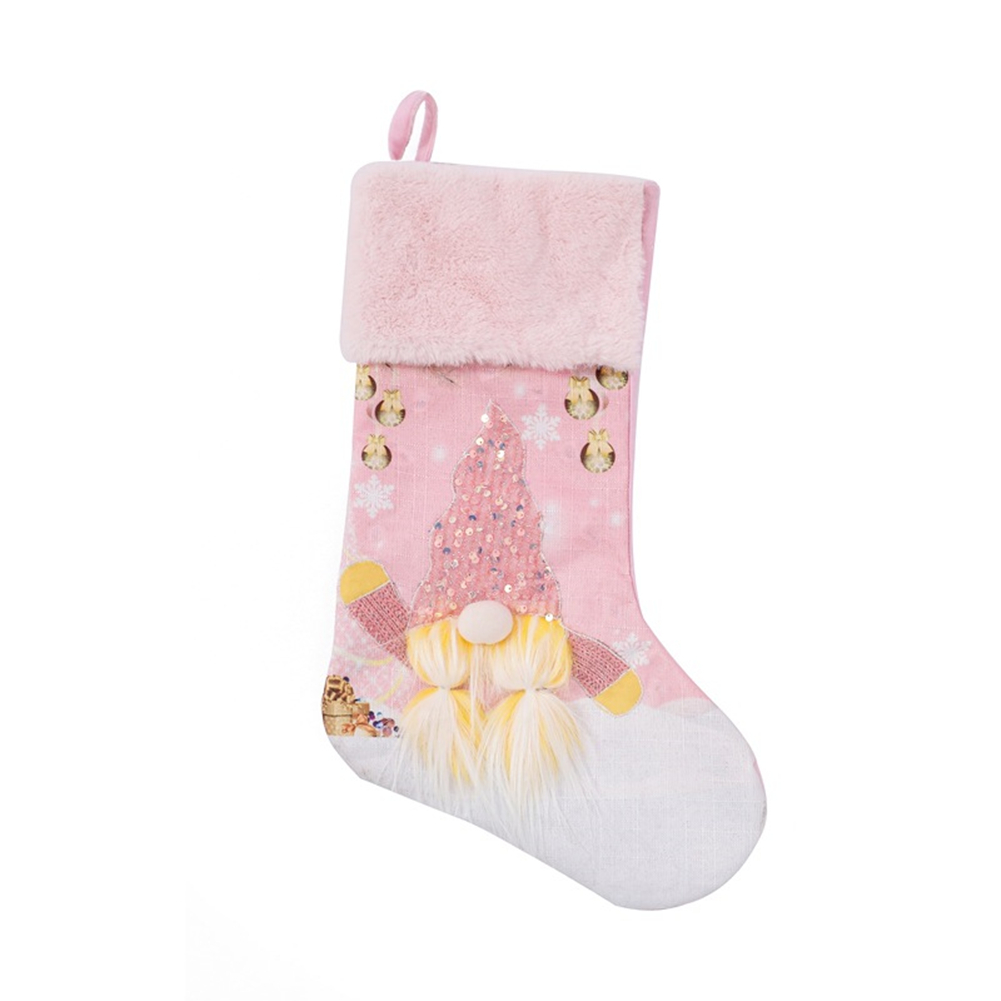 Christmas  Socks Pink With Lights Creative Faceless Doll Sparkly Christmas Ornament