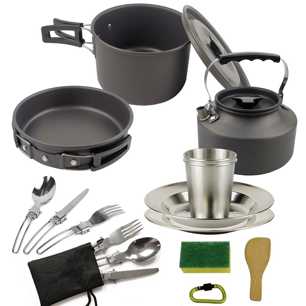 3pcs/set Camping   Cookware  Set For Outdoor Cooking Teapot Picnic Tableware Kettle Pot Frying Pan black