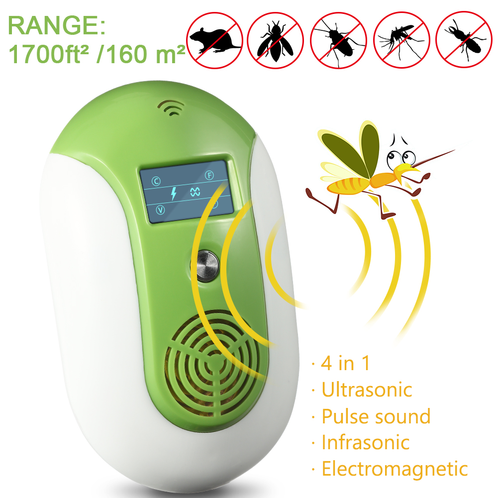 [US Direct] Ultrasonic Pest Control Electronic Smart Pest Repeller Indoor Pest Repellent Effective for Bug Insects Cockroaches/Mouse/Flies/Ants/Spiders with Smart Night Light,No Toxic,Safe for Humans & Pets