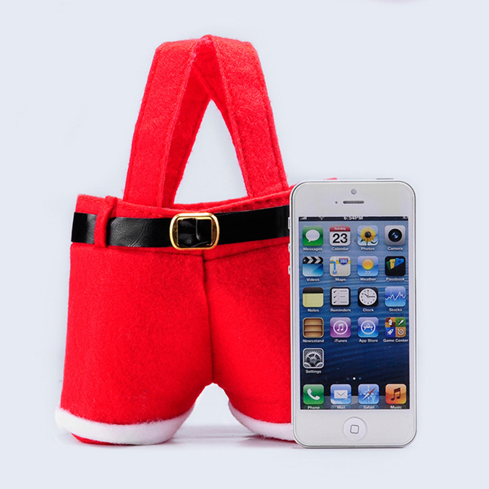 [US Direct] Creative Santa Pants Shape Candy Bag Portable Red Christmas Gift Bags Home Wedding Party Decor