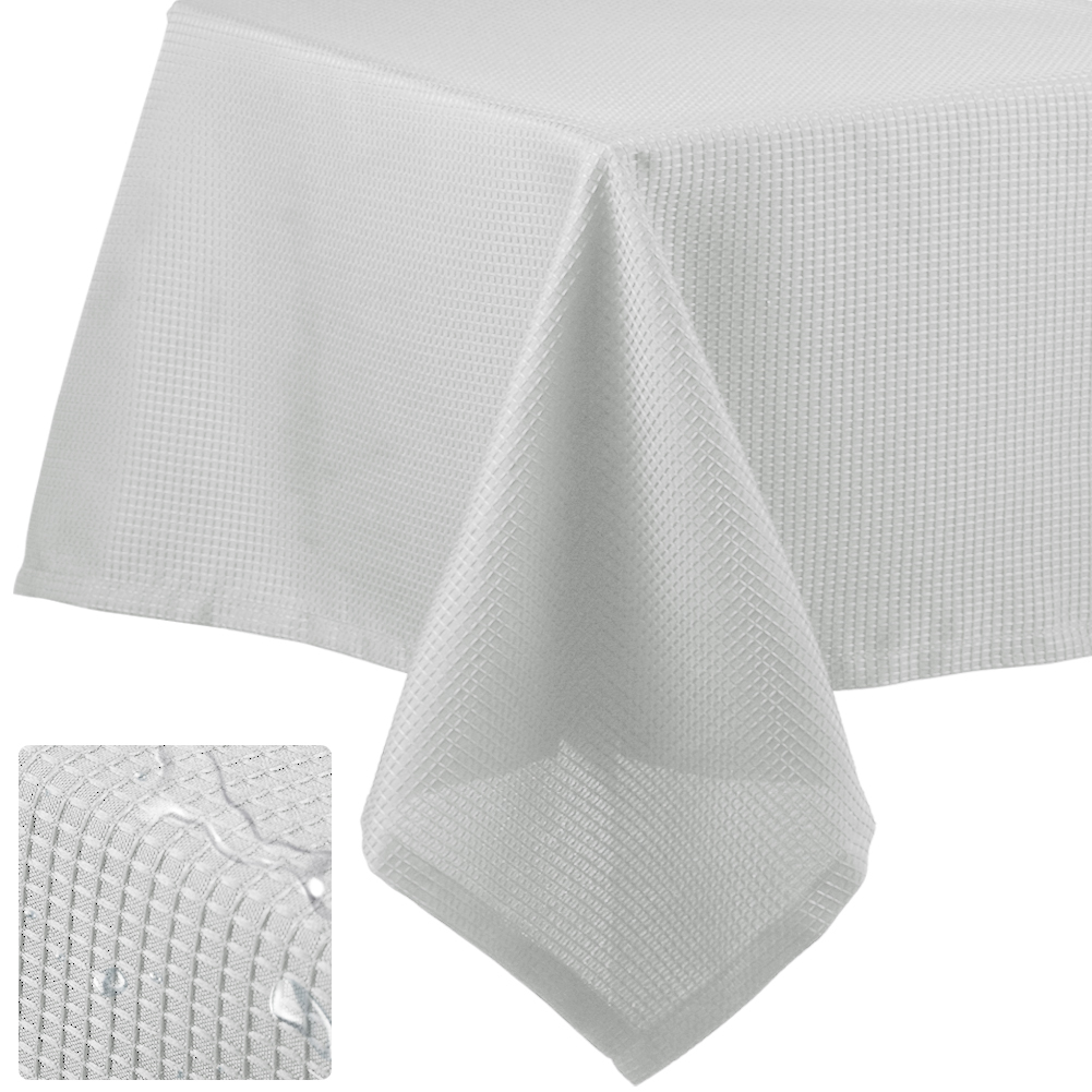 [US Direct] Tablecloth Fabric Waffle Table Cover for Dining Table Parties Banquet Spillproof Water Resistant Dustproof