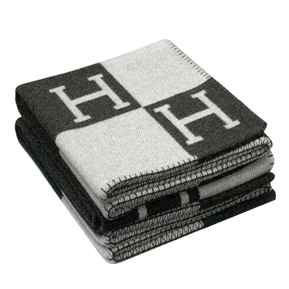 [US Direct] Fashionable Comfortable H-pattern Wool Cashmere Plaid Blanket 130*180cm Soft Warm Blanket Bed Sheet for Sofa Car Travel Black white