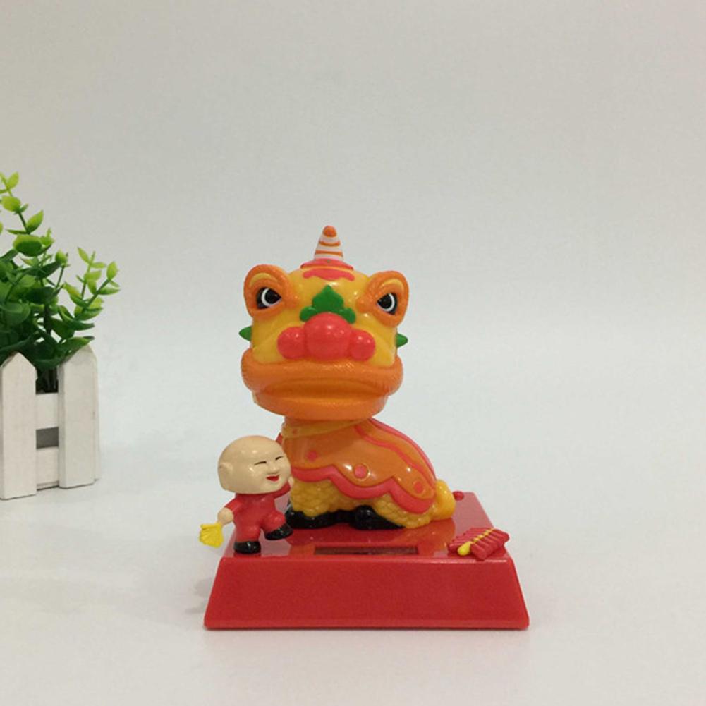 Lion Dance Solar Powered Dancing Doll Shaking Head Doll Ornament 10*10*12cm