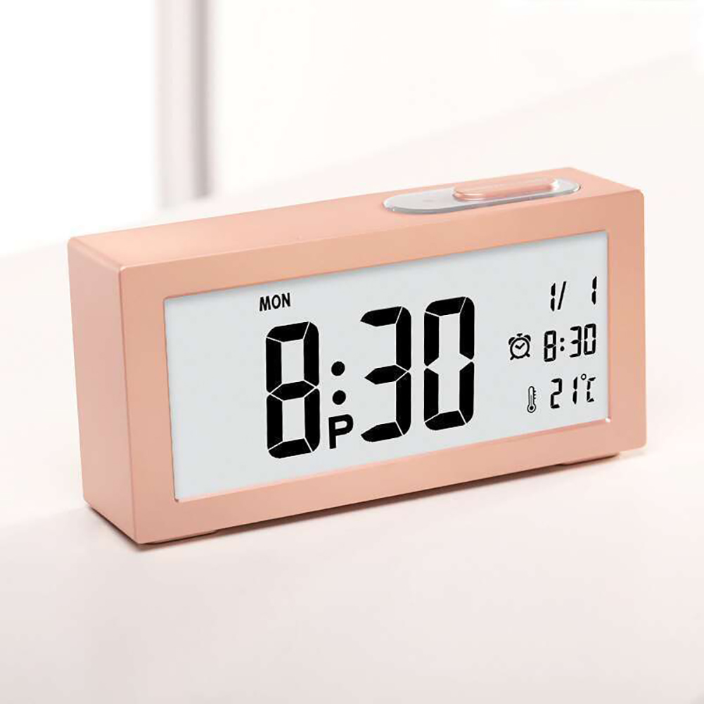 Electronic Digital Wall Clock With Temperature Display Home Clocks Gold