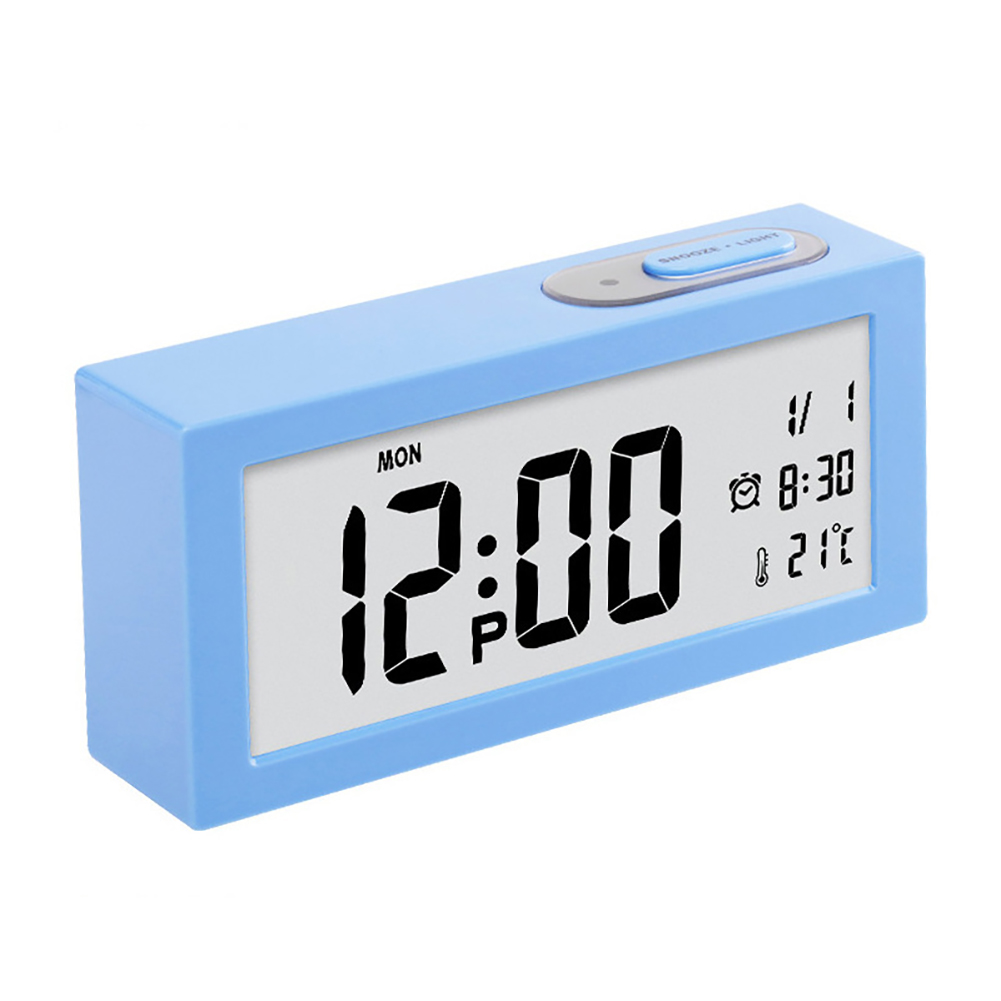Electronic Digital Wall Clock With Temperature Display Home Clocks blue