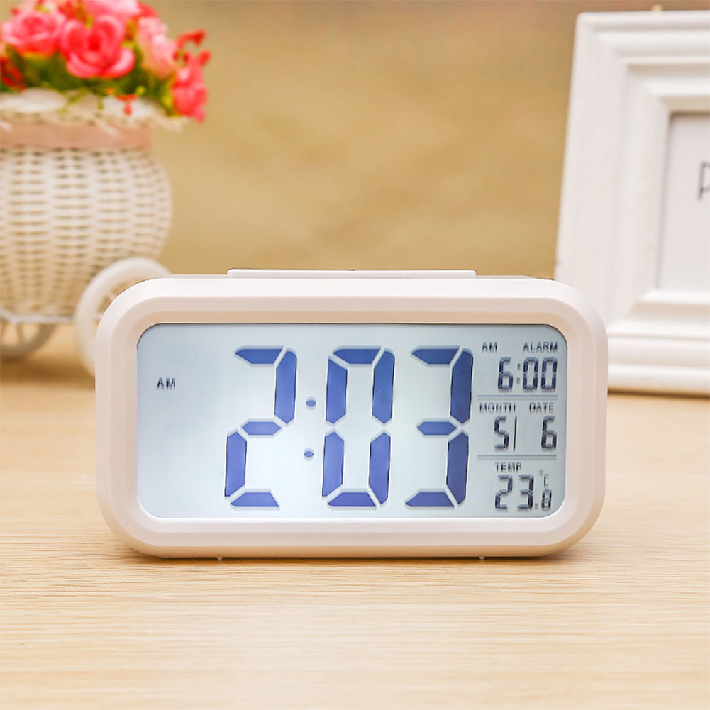 Luminous Noiseless LCD Display Alarm Clock with Snooze Function Thermometer Calendar Decoration Gift  white
