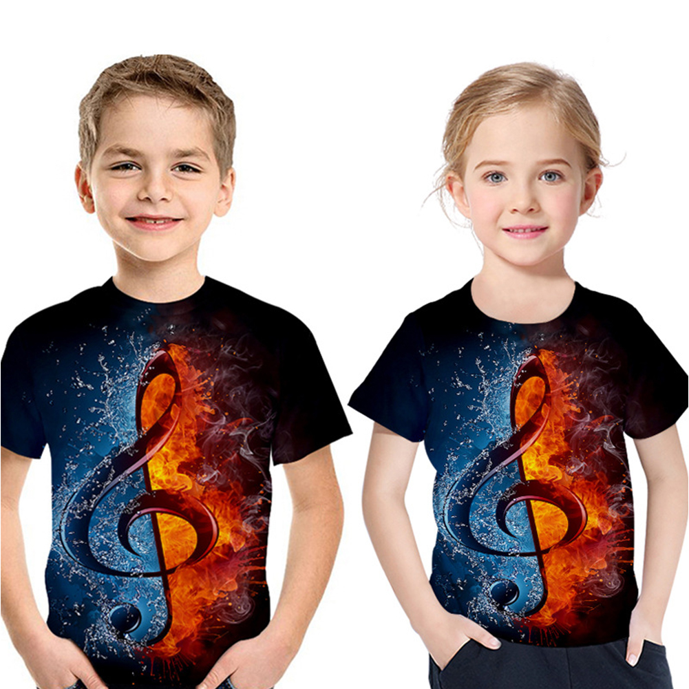Boys Girls 3D Digital Printed Note T-shirt Round Neck Fashion Tops Small note T_130cm