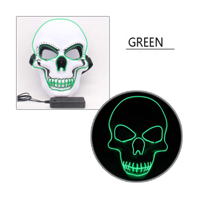 LED Halloween Scary Glow Skeleton Mask Cosplay Party Costume Supplies green