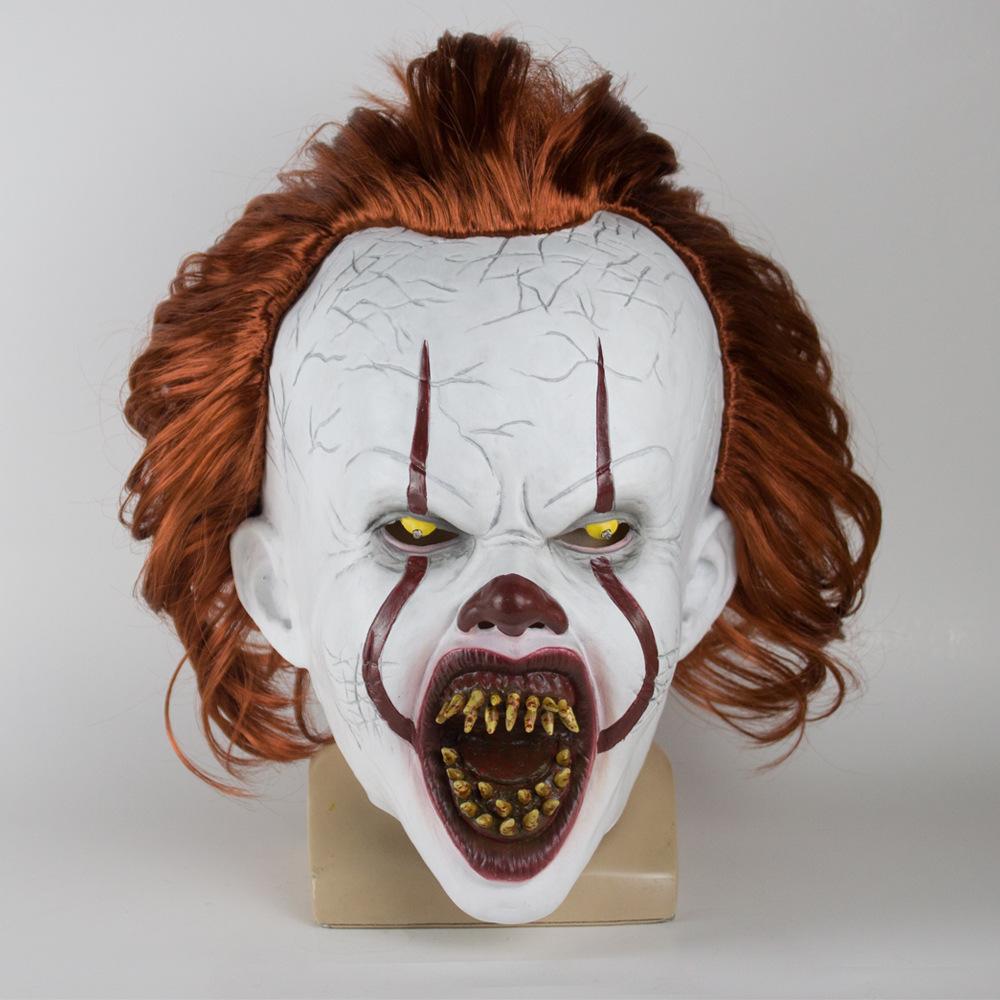 Horror Stephen King 2 Pennywise Clown Joker Mask Halloween Cosplay Costume Prop Dental no light