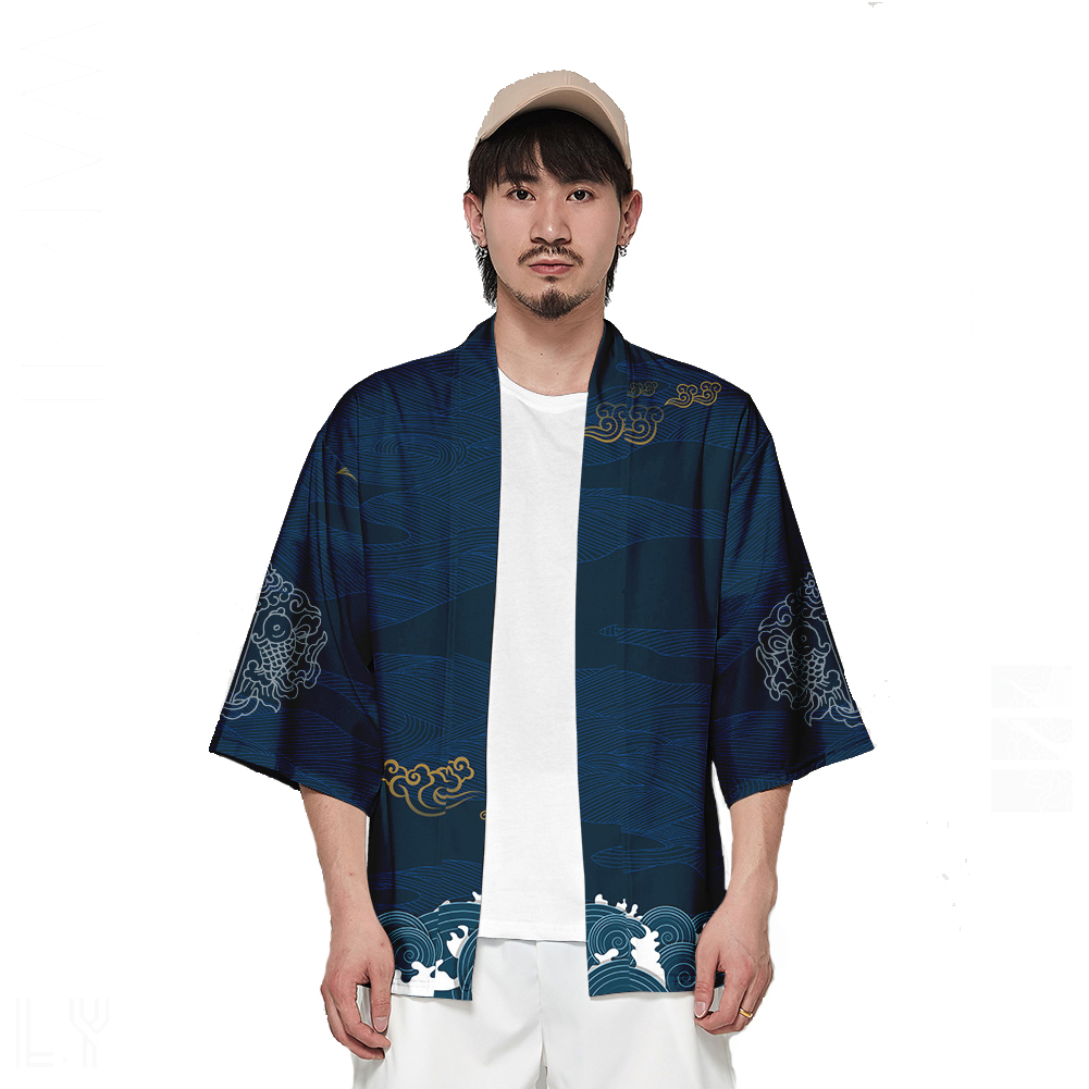 Unisex Fashion Thin Sunscreen Robe Half Sleeve Loose Large Size Kimono Clothes V00019-3M25_M