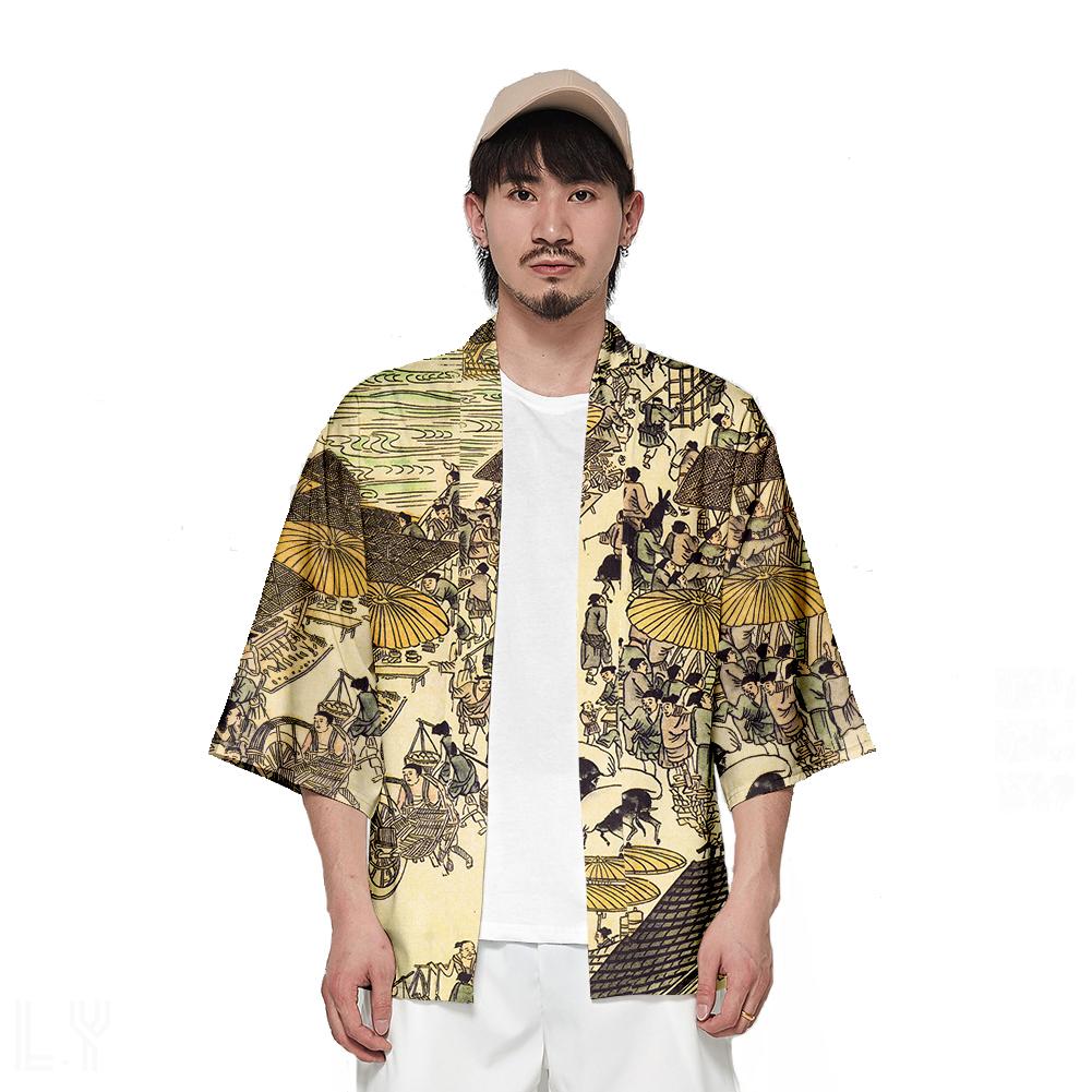 Unisex Fashion Thin Sunscreen Robe Half Sleeve Loose Large Size Kimono Clothes V00018-3M25_XL