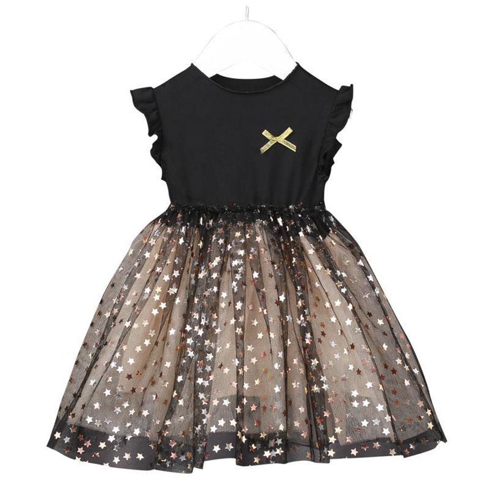 Kids Girls Dress Knitted Long Sleeve/Sleeveless Puffy Mesh Princess Dress sleeveless_130cm