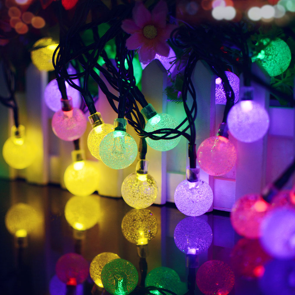 7M 50LEDs Solar Powered Bubble Ball Shape String Light for Outdoor Party Color light_(ME0003403)
