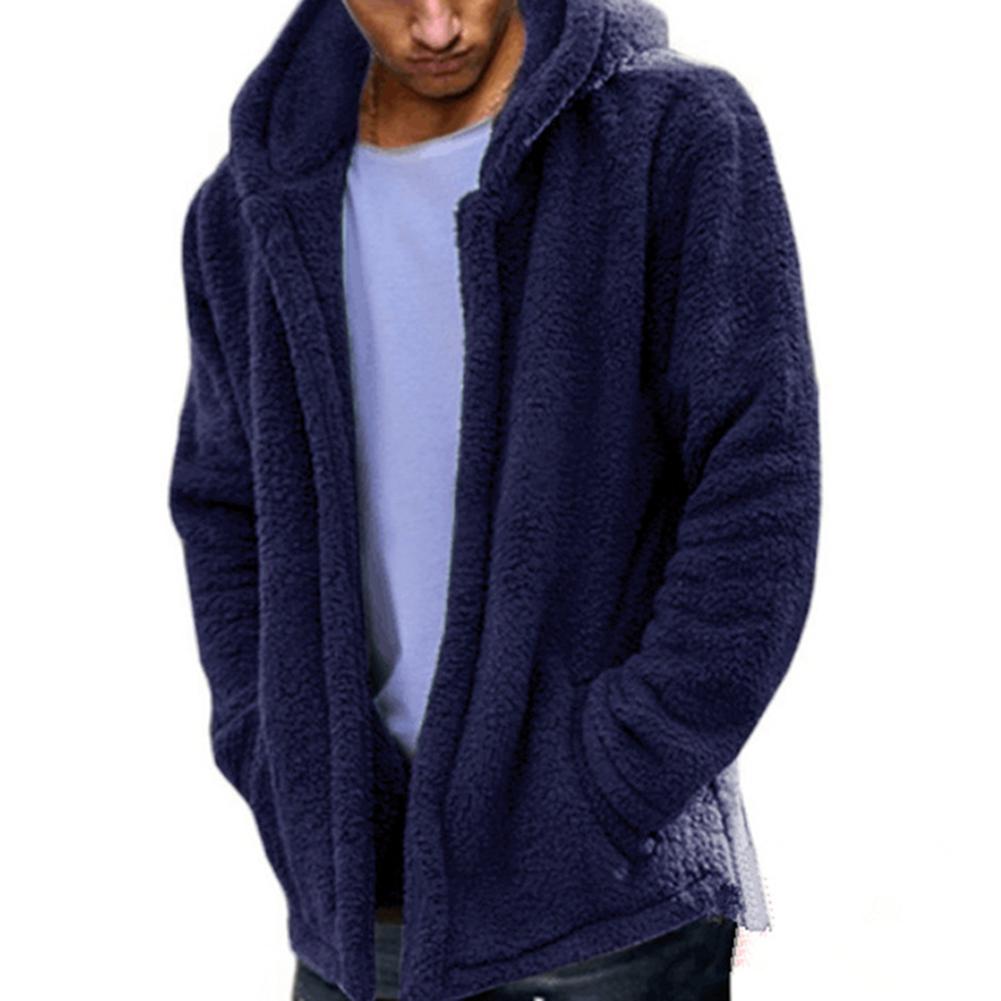 Men Casual Fluffy Fleece Coat Cardigan Hooded Sweatshirt Hoodie Jackets Outwear blue_L