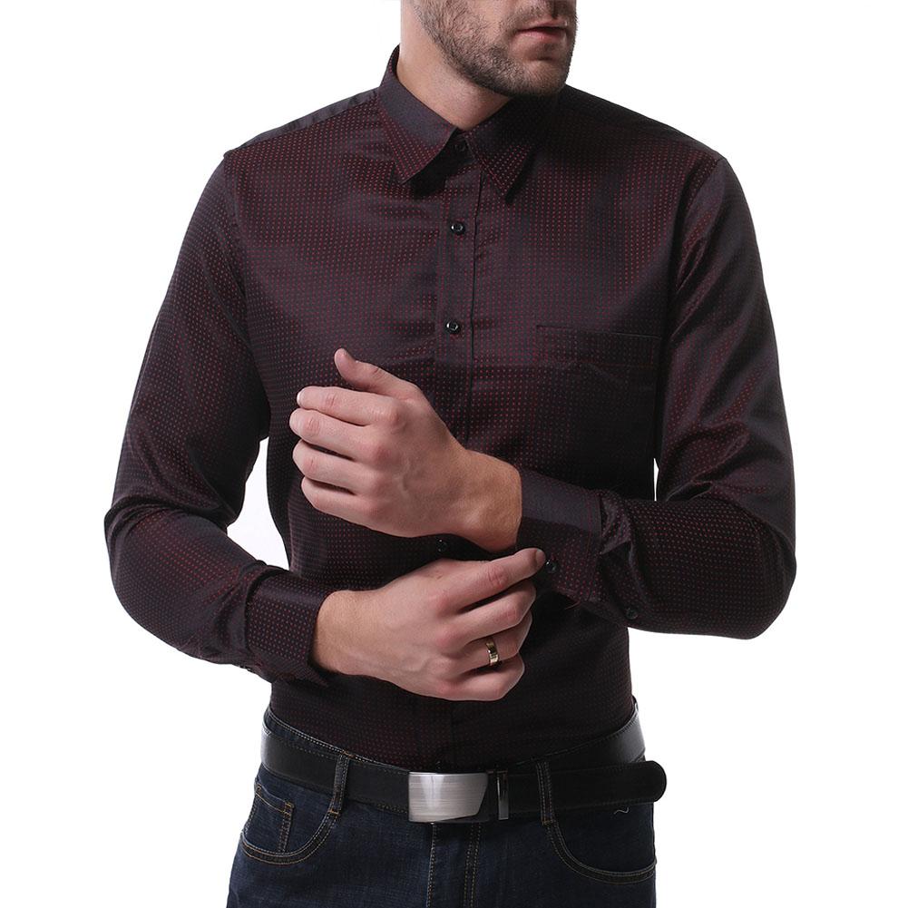 Men Casual Long Sleeve Formal Shirt Business Lapel Adults Tops Black_M