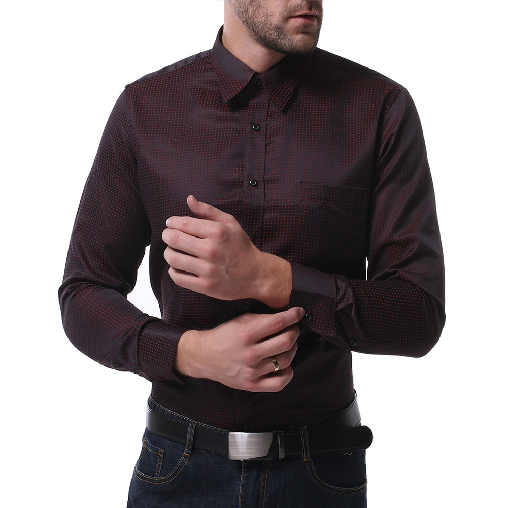 Men Casual Long Sleeve Formal Shirt Business Lapel Adults Tops Black_XL