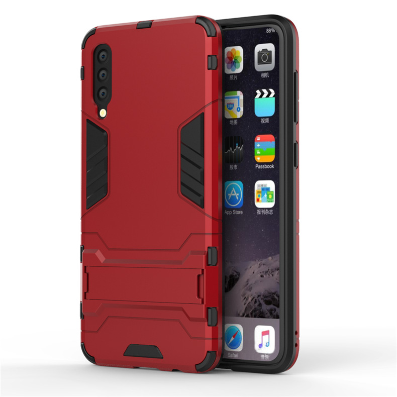 Anti-proof Phone Case TPU+PC Phone Shell with Hidden Bracket for Samsung A50 A30 red_Samsung A50/A50S/A30S (Universal)