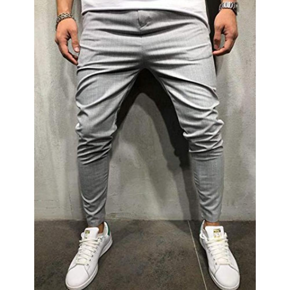 Men Plaid Casual Pants Fashion Sports Pants gray_3XL