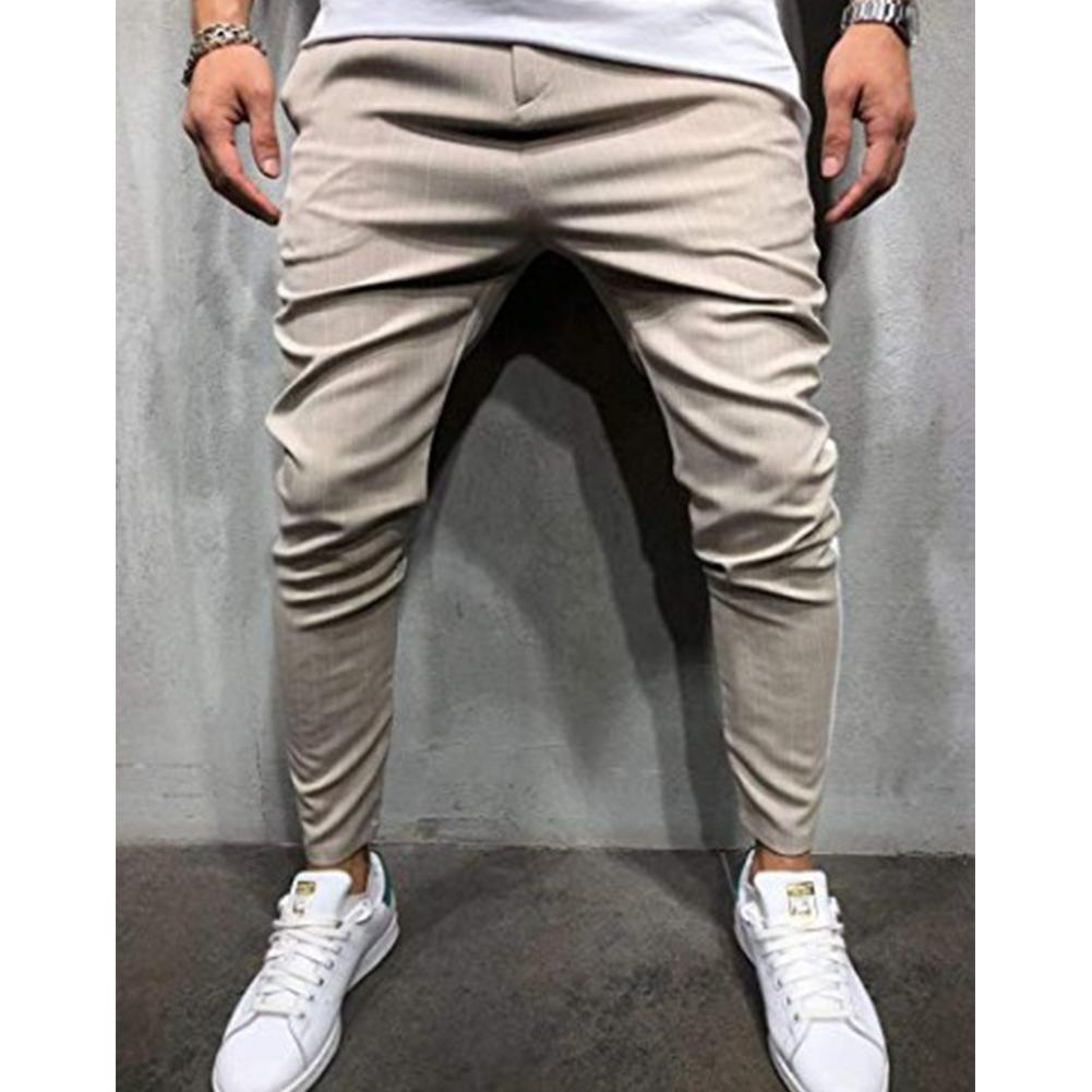 Men Plaid Casual Pants Fashion Sports Pants Khaki_2XL