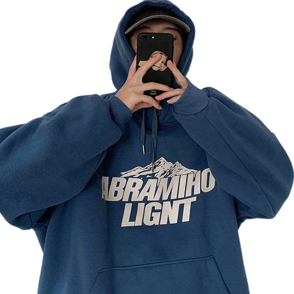 Men Women Hoodie Sweatshirt Snow Mountain Letter Printing Fashion Loose Pullover Casual Tops Blue_XXXL