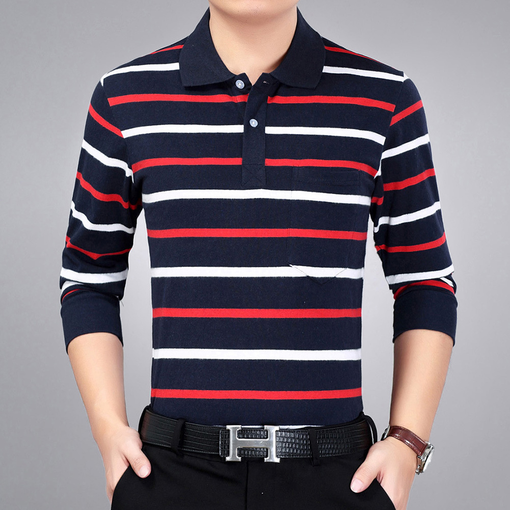 Casual Long Sleeve Business Shirts Turn-down Collar Top Male Striped Polo Shirt  22#_XXL