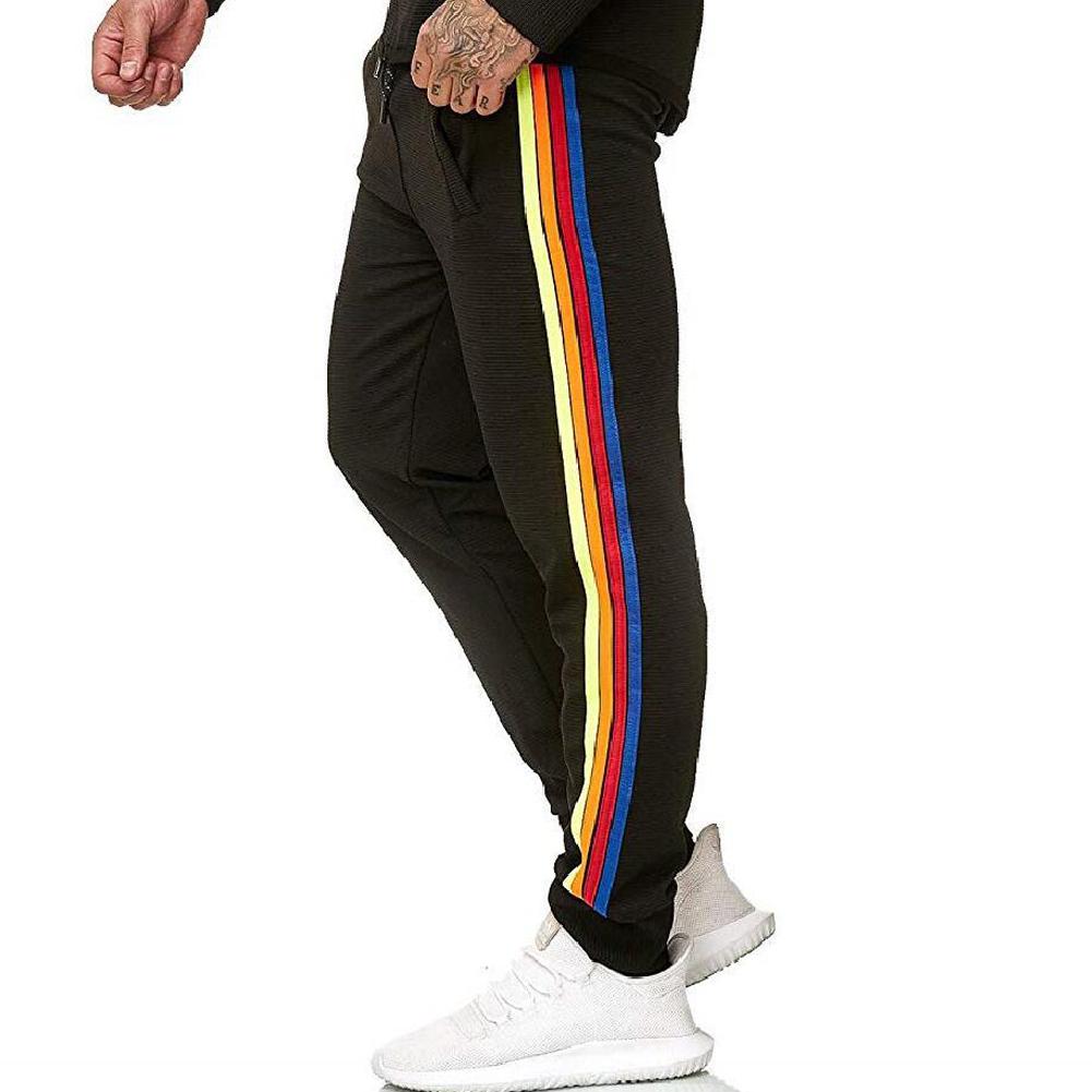 Men Casual Sports Pants Side Multi-color Ribbon Fashion Pants Trousers black_M