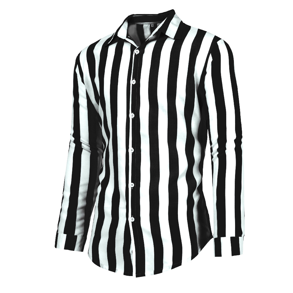 Men Fashion Long Sleeve Stripes Printing Casual Shirt black_XL