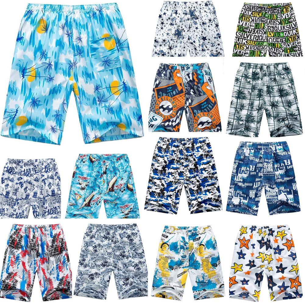 Men Outdoor Breathable Elastic Waist Fashion Printing Beach Shorts Random Color Random color_One size