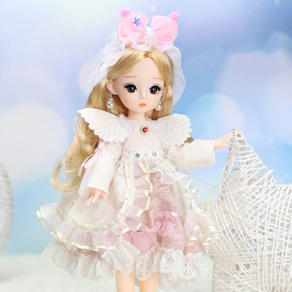 12-inch Joint  Doll Cute Style Real Eyelashes Princess Doll Toy For Kids (no Music + Bag) A2