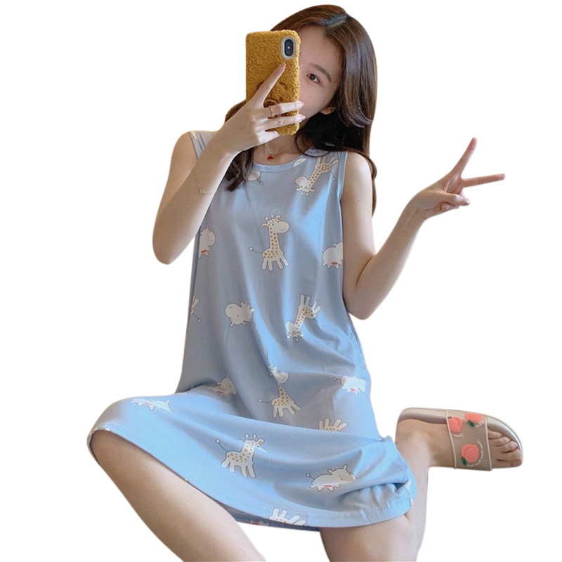 Girl Sleeveless Nightdress Giraffe Pajama with Bra Pad Crew Neck Summer Loose Sleepwear Sundress giraffe_2XL