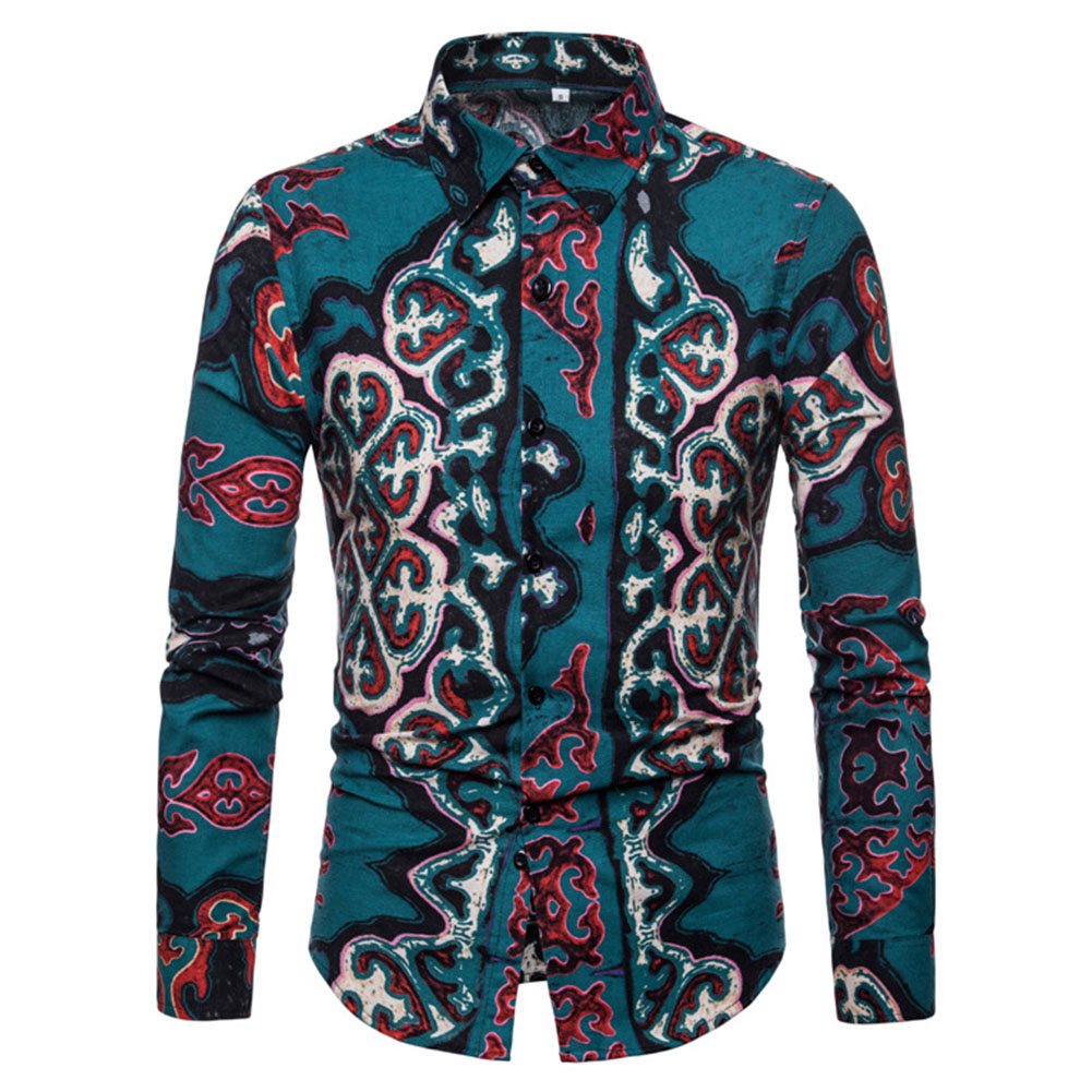 Men National Style Fashion Digital Printing Casual Long Sleeve T-shirt green_L